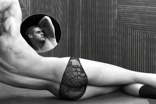 muscly man wearing women's panties