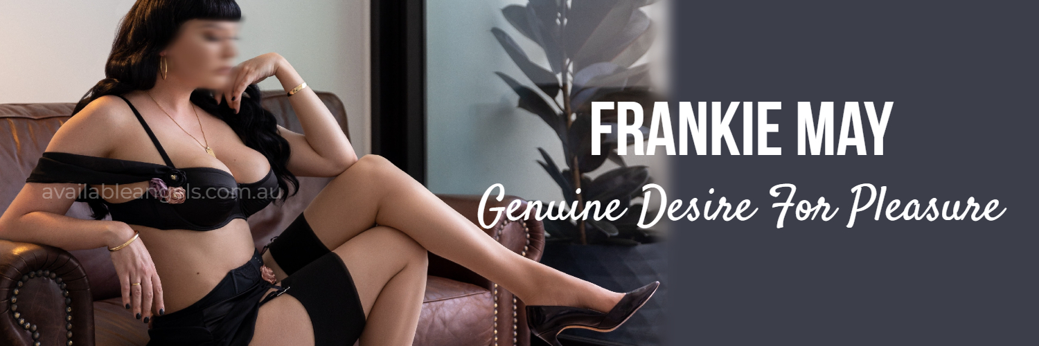 sexy brunette woman in lingerie heels melbourne escort frankie may