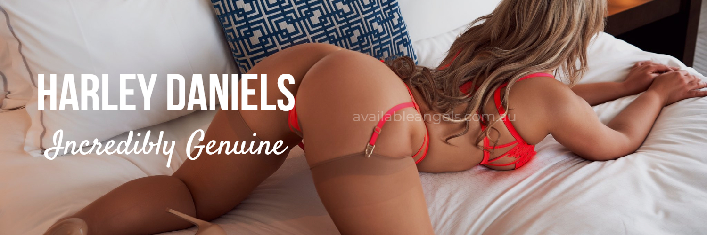 Perth escorts banner Harley Daniels orange lingerie