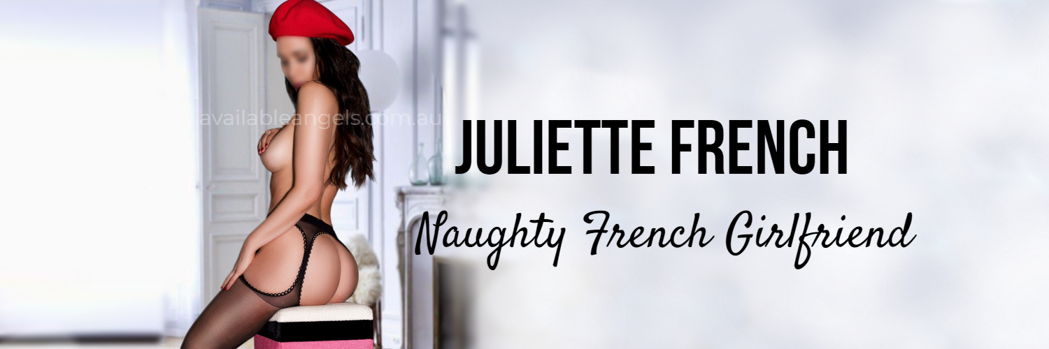 Sydney escorts banner Juliette French brunette red beret.