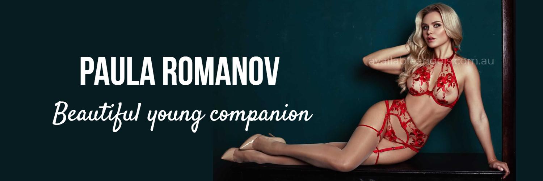 Melboure escort paula romanov red lingerie, blonde woman, teal background