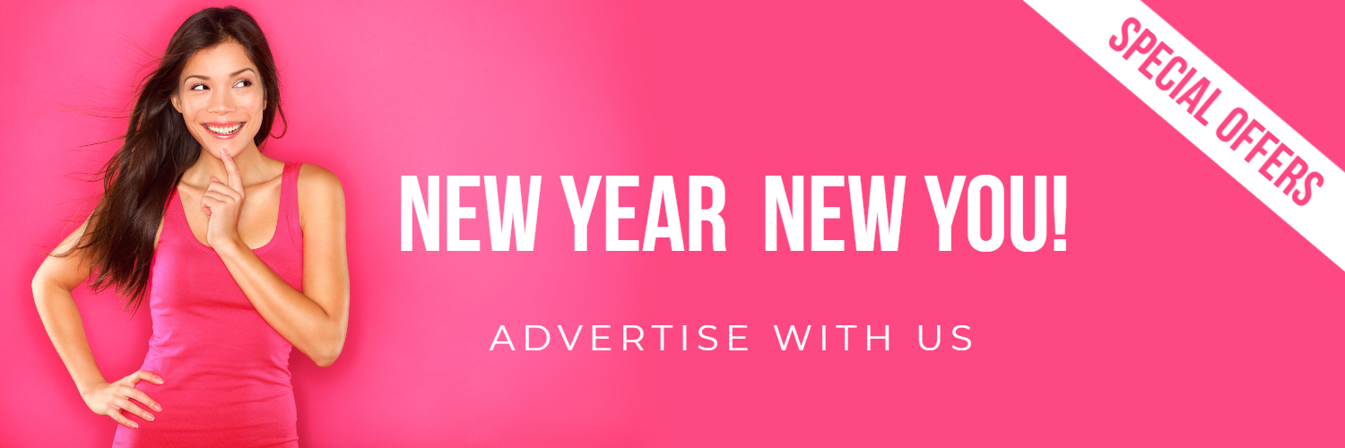 2021 advertising banner woman in pink thinking